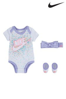Nike Baby White Sprinkle Bow Vest And Bootie Set
