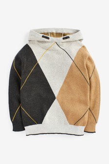 Argyle Pattern Knitted Hoodie (3-16yrs)