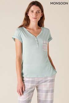 Monsoon Green Check Print Jersey Pyjama Top