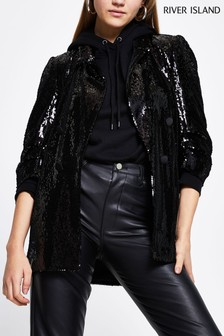 River Island Black Sequin E2E Blazer