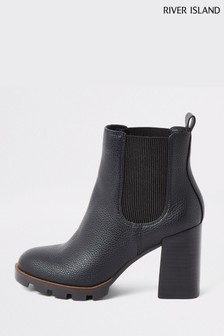 River Island Black Tops Cleated Chelsea Boots