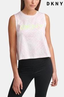 DKNY Lilac Logo Print Cropped Tank Top