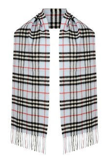 Burberry Kids Blue Check Cashmere Scarf