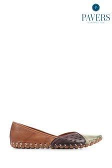 Pavers Tan Multi Leather Ladies Slip-On Shoes