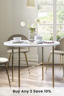 Marble Effect and Gold 4 Seater Round Dining Table