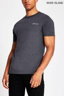 River Island Grey Slim Prolific T-Shirt