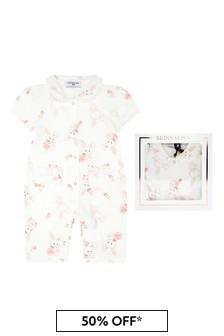 Baby Girls White Cotton Shortie Romper