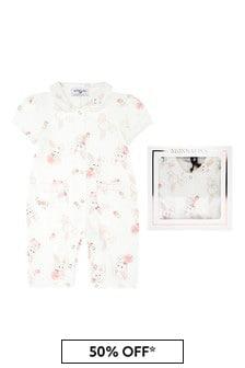 Monnalisa Baby Girls White Cotton Shortie Romper