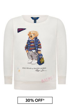 Ralph Lauren Kids Girls Ivory Bear Sweater