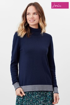 Joules Blue Orianna Knitted Roll Neck Jumper