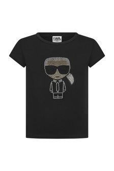 Karl Lagerfeld Girls Black Cotton T-Shirt