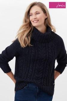 Joules Blue Halton Knitted Turtle Neck Jumper
