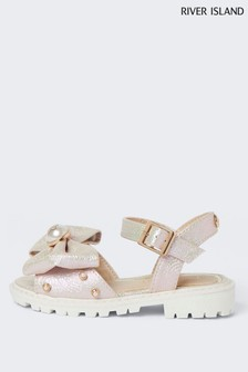 River Island Pink Metallic Bow Cleated Sandals