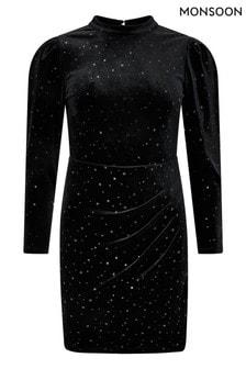 Monsoon Black Kay Velvet Star Dress