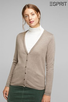 Esprit Taupe 5 Basic Cardigan With Organic Cotton