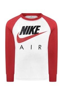 Boys White & Red Cotton Air T-Shirt
