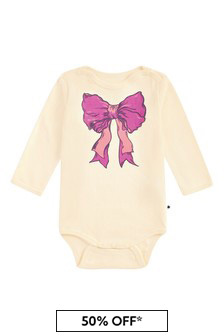 Molo Baby Girls Cream Cotton Babygrow