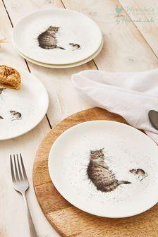 Set of 4 Royal Worcester Wrendale Cat Side Plates