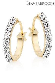 Beaverbrooks 9ct Gold Crystal Hoop Earrings
