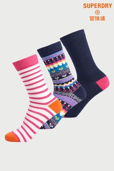 Superdry Organic Cotton Novelty Socks Three Pack