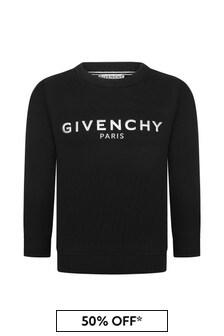 Givenchy Kids Boys Black Cotton Sweat Top