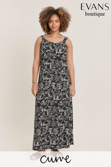 Evans Curve Black Print Maxi Dress