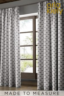 Orla Kiely Black Woven Acorn Cup Made To Measure Curtains