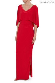 Gina Bacconi Red Keana Jersey Maxi Dress