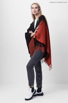 French Connection Black/Canyon Rock Sabina Ombre Fringe Poncho