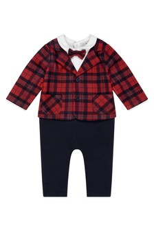 Baby Boys Navy Tartan Print Babysuit