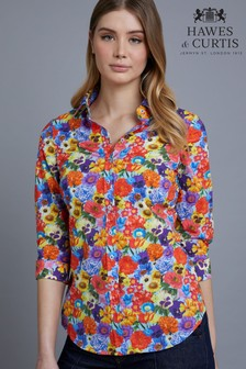 Hawes & Curtis Blue Bright Floral Semi Fitted Shirt