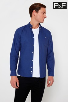 F&F Blue Cobalt Long Sleeve Oxford Shirt