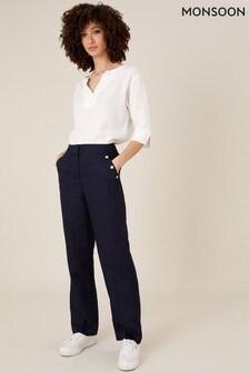 Monsoon Blue Smart Regular Length Trousers In Linen Blend