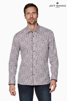 Jeff Banks Red Floral Design Print Tailored Fit Casual Shirt