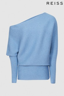 Reiss Blue Lorna Asymmetric Knitted Top