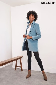 White Stuff Blue Kenley Velvet Coat