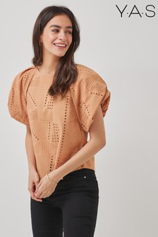 Y.A.S Organic Cotton Coral Broderie Anglaise Co-ord Top
