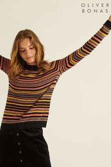 Oliver Bonas Alma Shimmer Striped Knitted Jumper