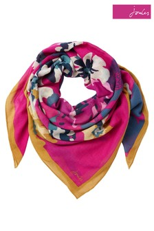 Joules Pink Atmore 30th Anniversary Square Cotton Scarf