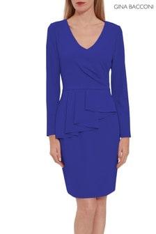 Modré krepové šaty Gina Bacconi Eliane s peplum volánom