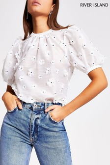 River Island White 3D Floral Blouse