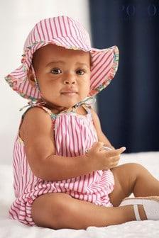 Ralph Lauren Pink Stripe Romper And Hat Set