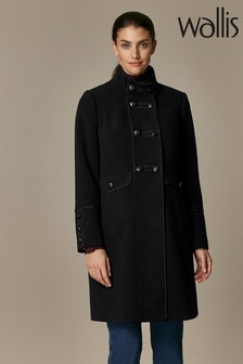 Wallis Black Funnel Military Coat
