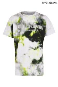 River Island Yellow Glitch Print T-Shirt