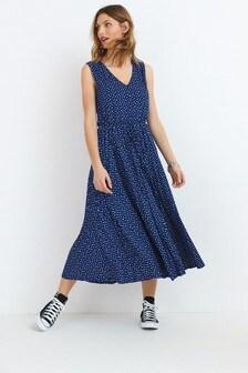 Pleated Button Midi Dress