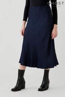 Ghost Luna Satin Bias Cut Skirt