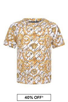 Baby Boys White/Gold Baroque Cotton T-Shirt