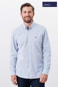 Joules Blue Abbott Classic Fit Peached Poplin Shirt
