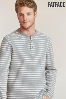 FatFace Grey Stripe Henley T-Shirt