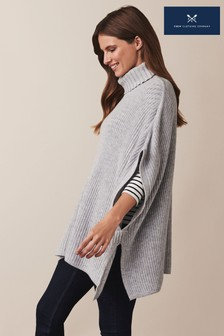 Crew Clothing Company Grey Fisherman Rib Knitted Poncho